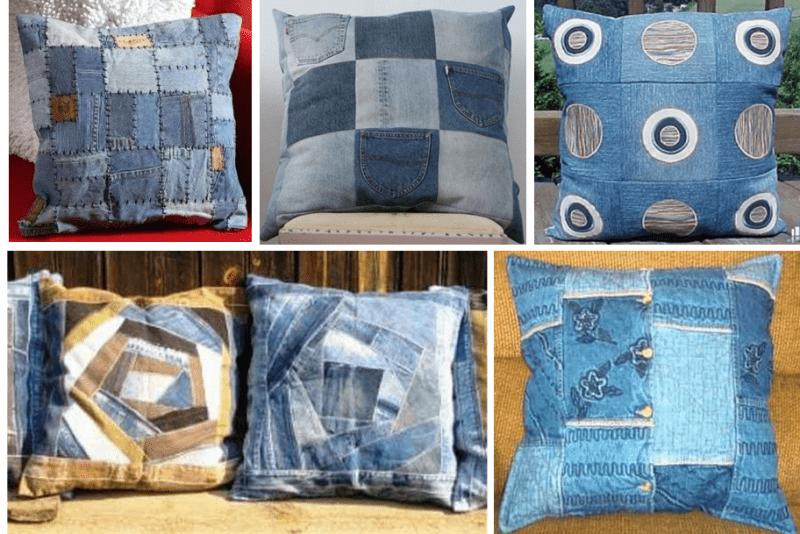 100 примеров того как можно сшить интересные квадратные подушки из старых джинсов