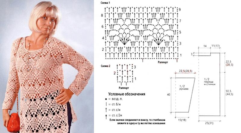 Четыре интересных модели вязания крючком для полных дам в возрасте - модели и схемы