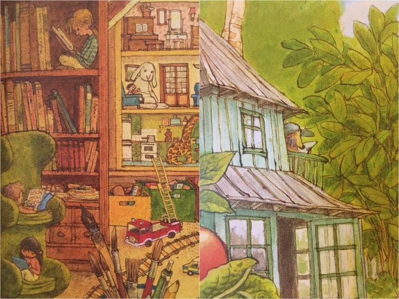 Книжка-искалка с фантастическими локациями, где очень многие герои читают книги