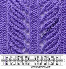 30 узоров спицами в сиреневом цвете