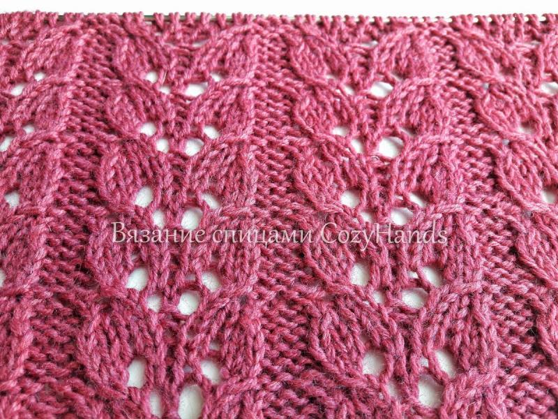 Эффектный ажурный узор спицами для вязания джемперов, летних изделий, палантинов