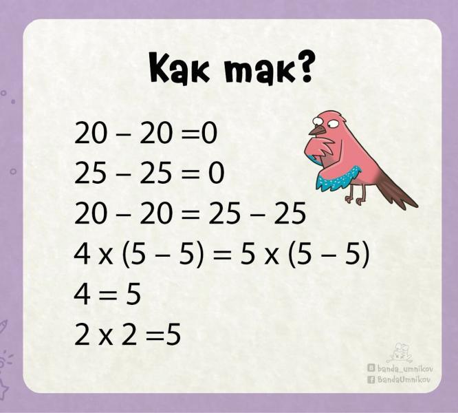 Как доказать, что «2 х 2 = 5»🎯 Поставь своего учителя по математике в тупик📐