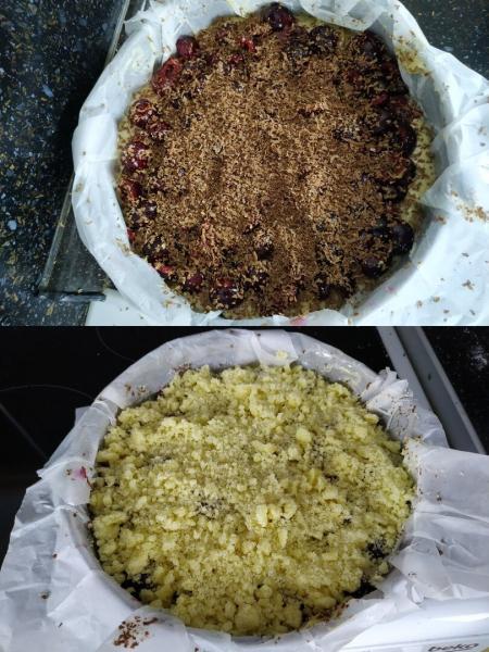 Вишневый пирог с шоколадом и хрустящей корочкой из штрейзеля