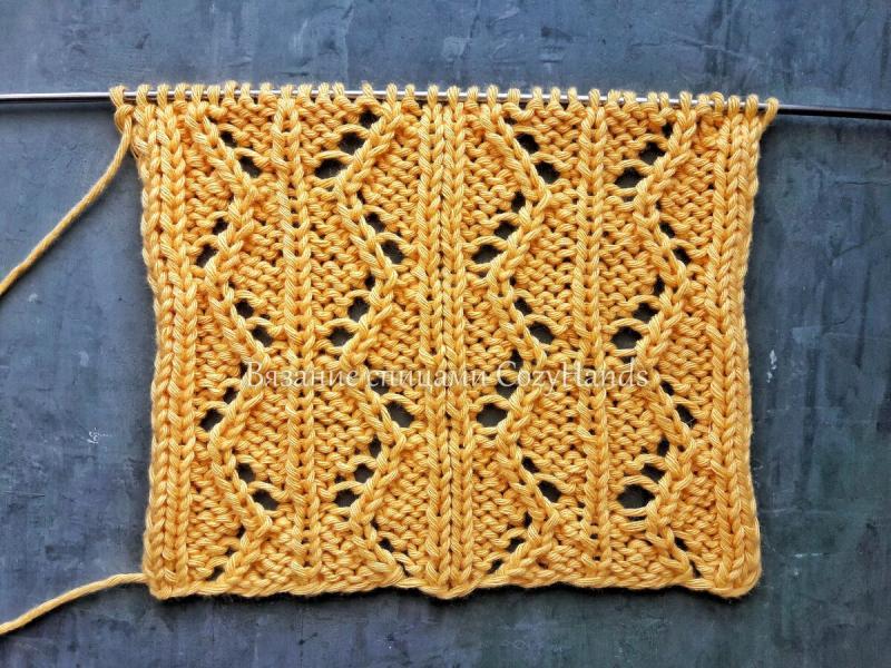 Ажурные ромбы спицами для вязания пледов, свитеров, палантинов