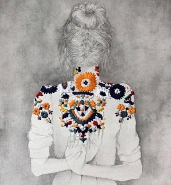 Как обычные рисованные портреты оживают с помощью вышитых деталей