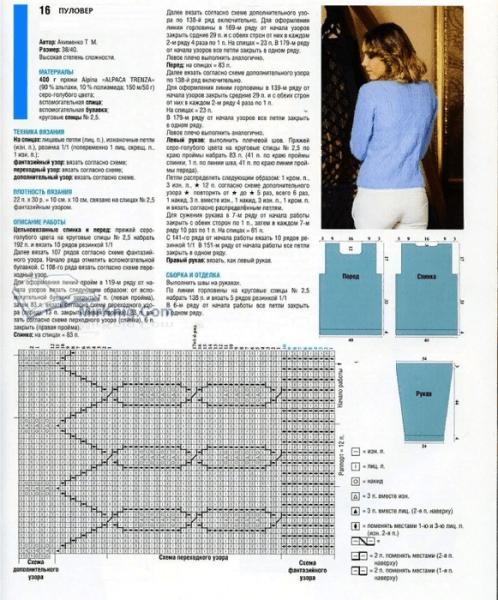 Женские вязаные джемперы и пуловеры спицами.
