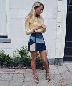 Джинсовая юбка из лоскутов в технике колорблок!