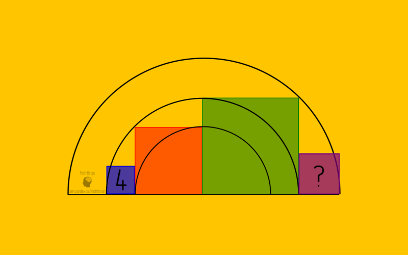 Найдите площадь квадрата - интересная задача по геометрии с красивым решением