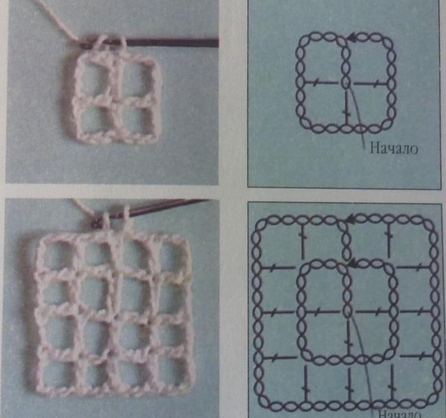 Вязание квадрата крючком от середины.Не бабушкин.