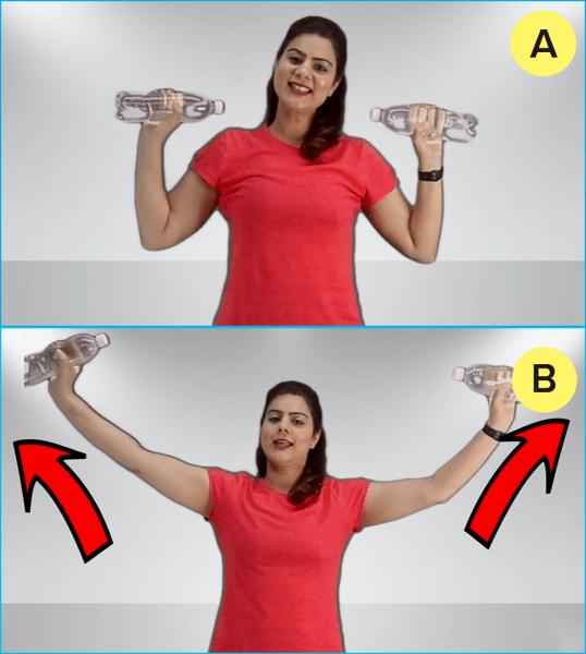 Простые упражнения для рук (с бутылочками), чтобы скорее убрать жир и подтянуть обвисшую кожу рук
