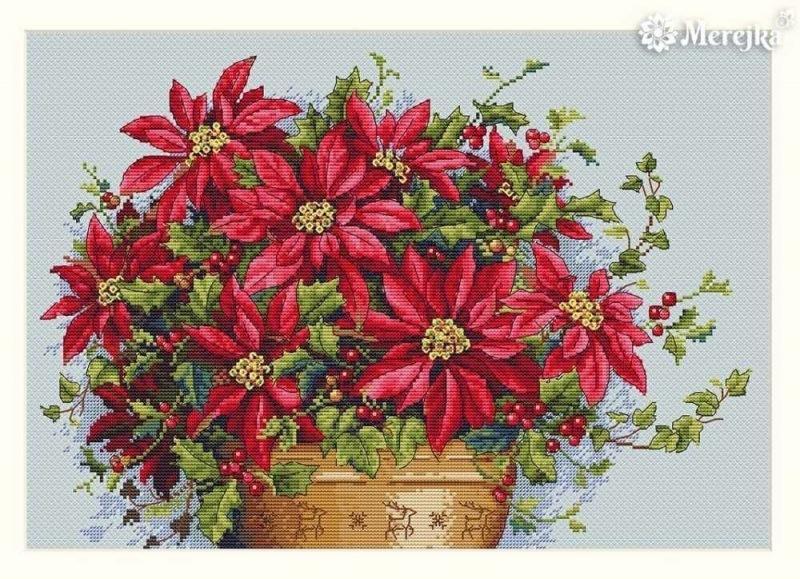 Пуансеттия - рождественская звезда. Вышитый символ праздника.