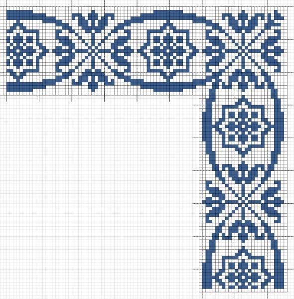 Схемы каймы крючком и вышивки крестом.