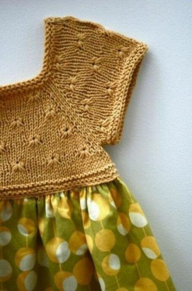 Вязание крючком + ткань, в результате очаровательное платье, для маленькой принцессы! Схемы, идеи и примеры!