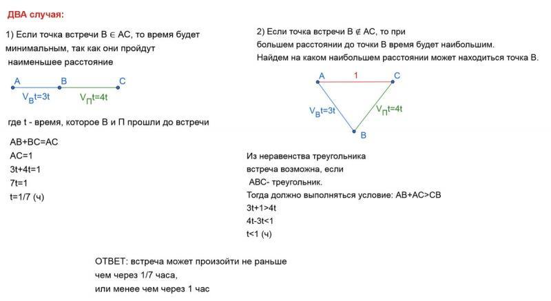 """Интересная задача по геометрии для 7 класса на тему """"неравенство треугольника"""" и ее решение"""