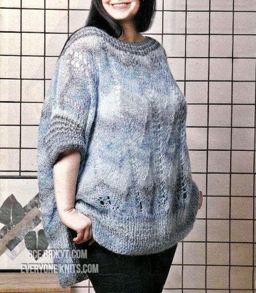Модели plus-size для солидных дам спицами и крючком.