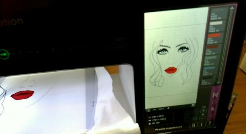 Создала рисунок для вышивки сама и вышила его на машинке