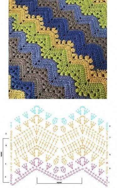 Схемы для многоцветного вязания крючком.