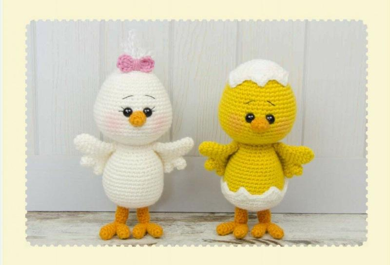 Перевод вязания крючком цыпляток