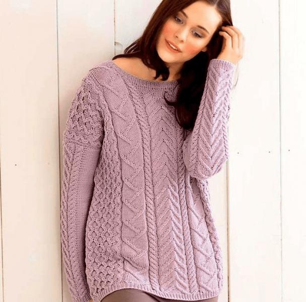 Подборка женских пуловеров спицами. Пуловеры спицами, схемы и описание.