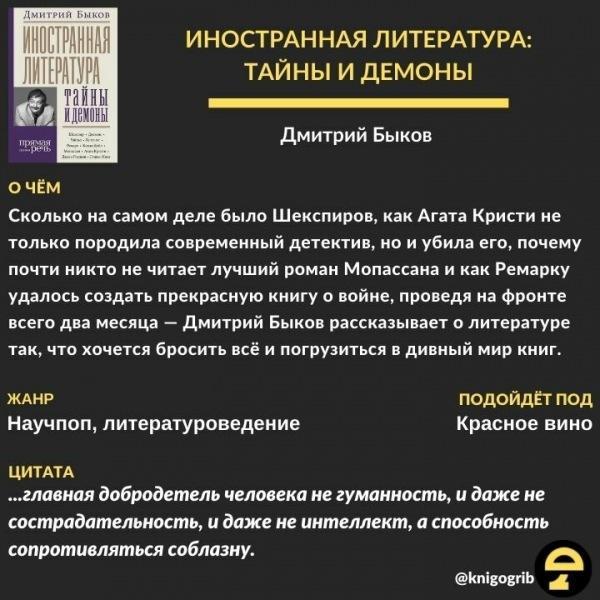 """5 вопросов к труду """"Иностранная литература: тайны и демоны"""" Дмитрия Быкова"""