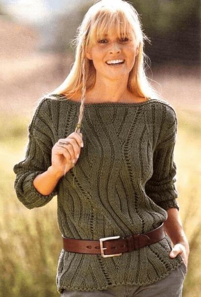 Очень стильный женский пуловер спицами. Женский пуловер, схемы и подробное описание.