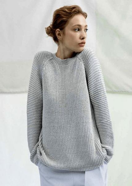 Шелковый пуловер полупатентной резинкой. Пуловер спицами, схема и подробное описание.